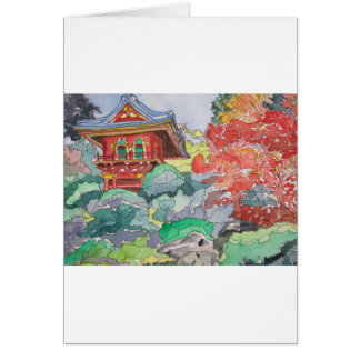 Tea House in San Francisco Watercolor Painting Card