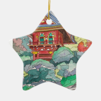 Tea House in San Francisco Watercolor Painting Double-Sided Star Ceramic Christmas Ornament