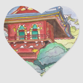Tea House in San Francisco Watercolor Painting Heart Sticker