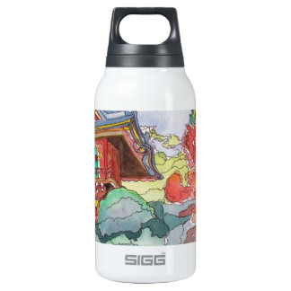 Tea House in San Francisco Watercolor Painting Insulated Water Bottle