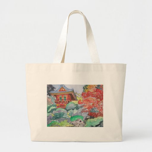Tea House in San Francisco Watercolor Painting Jumbo Tote Bag