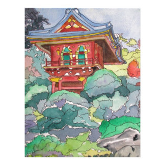 Tea House in San Francisco Watercolor Painting Letterhead