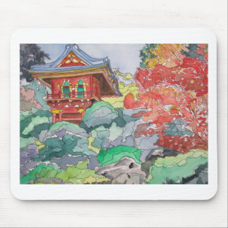 Tea House in San Francisco Watercolor Painting Mouse Pad