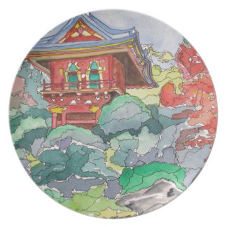 Tea House in San Francisco Watercolor Painting Plate
