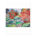 Tea House in San Francisco Watercolor Painting Post Card