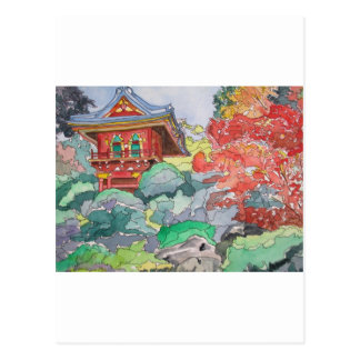 Tea House in San Francisco Watercolor Painting Postcard