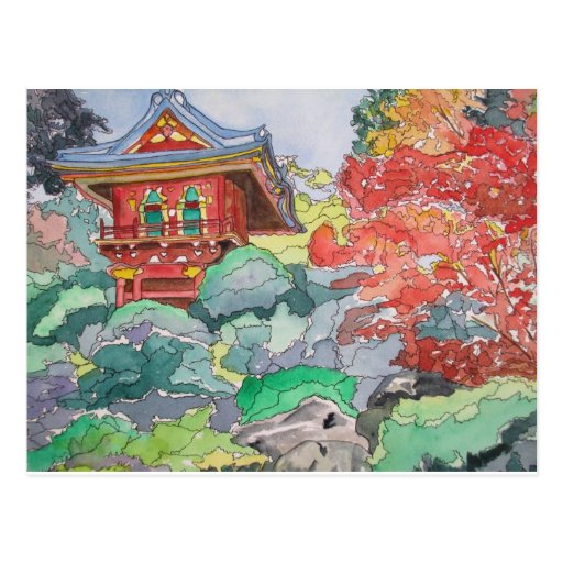 Tea House in San Francisco Watercolor Painting Post Cards