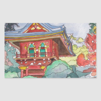 Tea House in San Francisco Watercolor Painting Rectangular Sticker