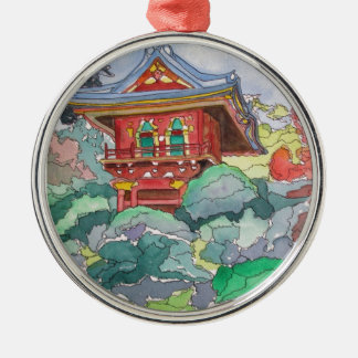Tea House in San Francisco Watercolor Painting Round Metal Christmas Ornament