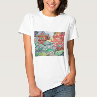 Tea House in San Francisco Watercolor Painting Shirt
