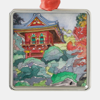 Tea House in San Francisco Watercolor Painting Square Metal Christmas Ornament