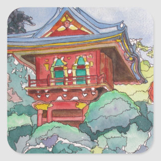 Tea House in San Francisco Watercolor Painting Square Sticker