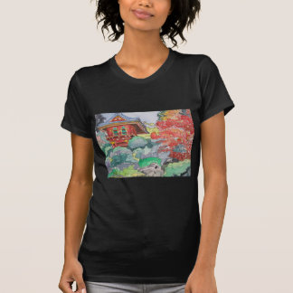 Tea House in San Francisco Watercolor Painting T-shirts