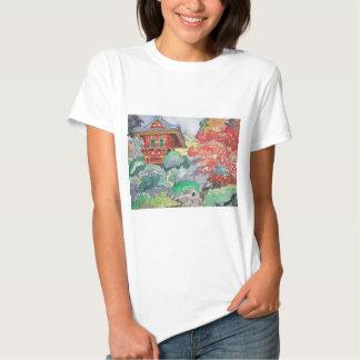 Tea House in San Francisco Watercolor Painting Tee Shirt