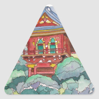 Tea House in San Francisco Watercolor Painting Triangle Sticker