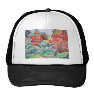 Tea House in San Francisco Watercolor Painting Trucker Hat