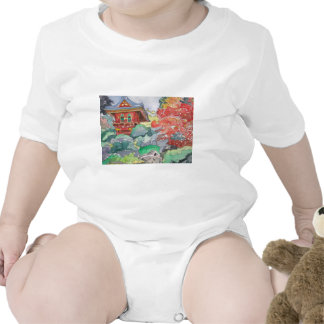 Tea House in San Francisco Watercolor Painting Tshirt
