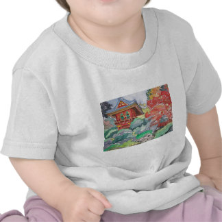 Tea House in San Francisco Watercolor Painting T Shirt