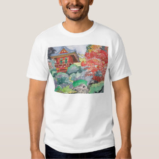 Tea House in San Francisco Watercolor Painting Tshirts