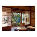 Tea house in spring postcard
