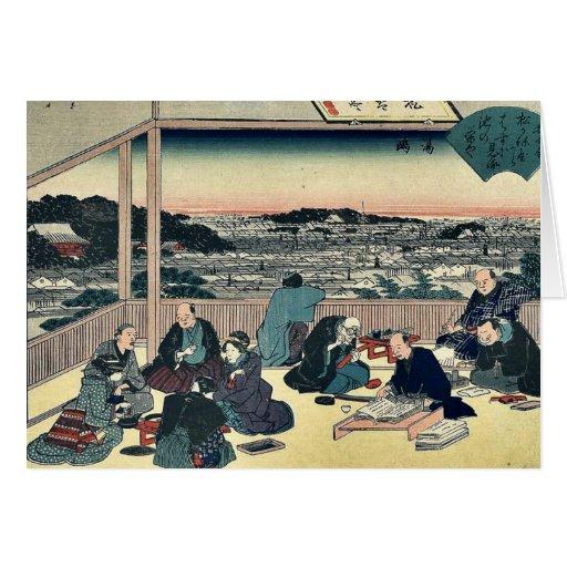 Tea house Shokintei at Yushima by Ando,Hiroshige Greeting Card