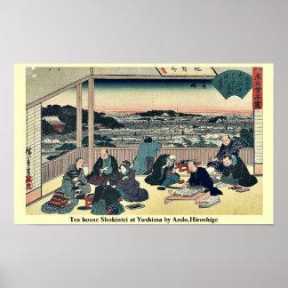 Tea house Shokintei at Yushima by Ando,Hiroshige Poster
