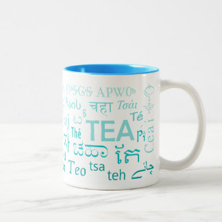Tea in Every Language Mug in Blue Two-Tone Mug
