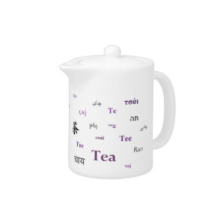 Tea in many languages teapot - Purple