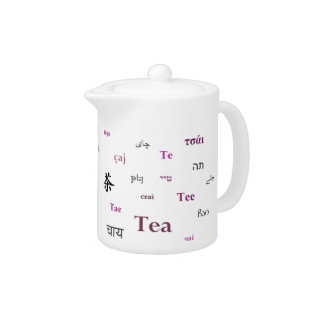 Tea In Other Languages Teapot - Pink at Zazzle