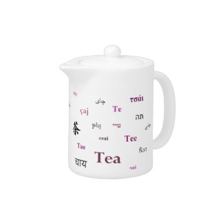 Tea in other languages teapot - Pink