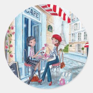 Tea in Paris Classic Round Sticker