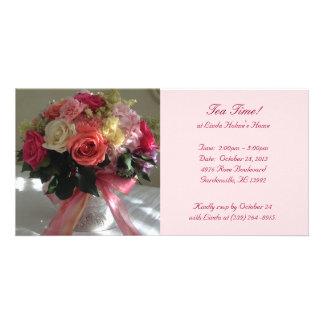 Tea Invitation Rose Flower Photo Card