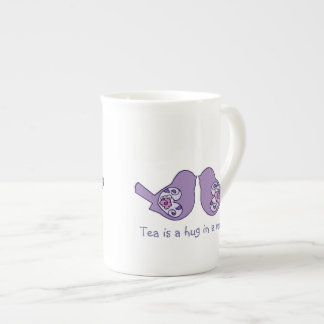 Tea is a hug in a mug, Cute Love Birds in Mauve Tea Cup