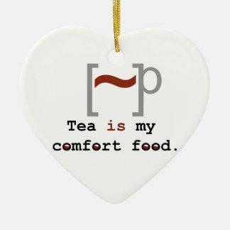Tea is my Comfort Food Double-Sided Heart Ceramic Christmas Ornament