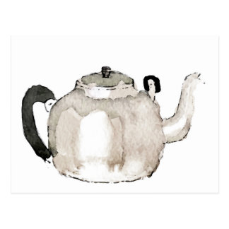 Tea Kettle Water Colour Postcard