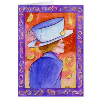 Tea Lady With Floating Lemons Card