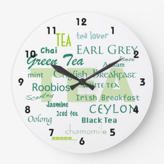 Tea Lover-Shades of Green Word Cloud Large Clock