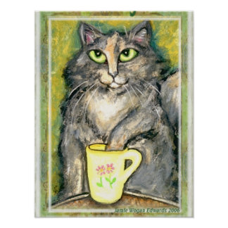 Tea Loving Maine Coon Cat Poster