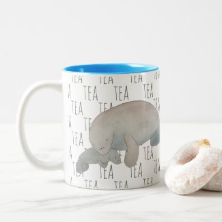 Tea Marine Mammal Watercolor Mother Baby Manatee Two-Tone Coffee Mug