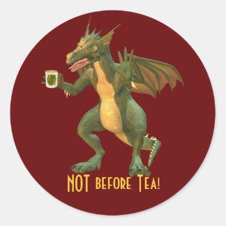 Tea or Coffee Dragon Round Stickers
