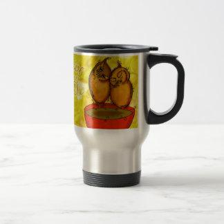 Tea Owl Cuddles Stainless Steel Travel Mug