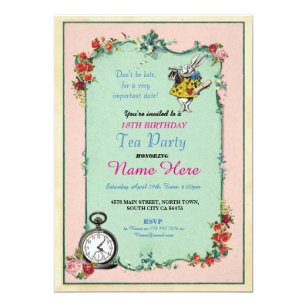 18th birthday party invitations announcements zazzle tea party 18th birthday alice in wonderland invite filmwisefo Images