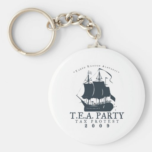 Tea Party 2009 Basic Round Button Keychain