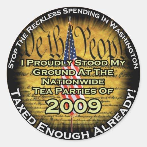 Tea party 2009 classic round sticker