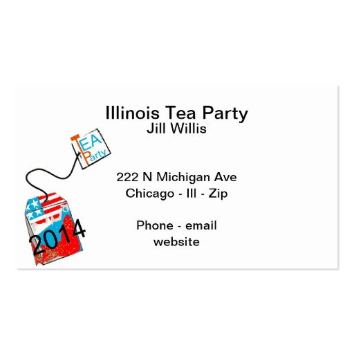 Tea Party 2014 Red White Blue Business Card Template