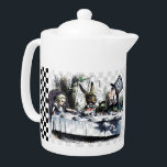 """Tea Party 2 Teapot<br><div class=""""desc"""">Medium white Porcelain teapot with a vintage Alice in Wonderland image, on both sides, of Alice at the Mad Hatter's tea party with the March Hare, and Dormouse on a light gray checkerboard background with black and white checkerboard borders. See matching candy jar, espresso cup, pitcher, Melamine plate, paper plate...</div>"""
