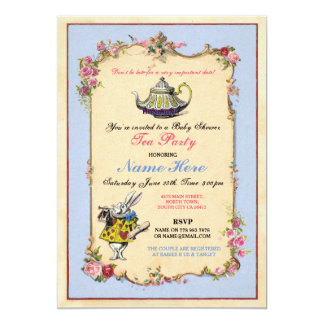 Tea Party Baby Shower Blue Pink Teapot Invitation