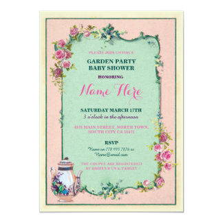 Tea Party Baby Shower Garden Teapot Invitation
