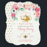 """Tea Party Baby Shower Invitation<br><div class=""""desc"""">A gold foiled vintage rustic fancy tea pot surrounded by a frame of garden woodland pink and orange floral flowers and gold glitter. A baby is brewing - Kitchen Tea</div>"""