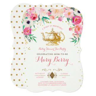 Marvelous Tea Party Baby Shower Invitation